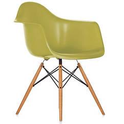 Кресло пластиковое Тауэр Вуд, ножки деревянные, бук, цвет зеленый. Кресло для кафе, баров