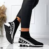Жіночі високі кросівки текстиль з написами чорні, фото 2