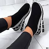 Жіночі високі кросівки текстиль з написами чорні, фото 3