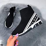 Жіночі високі кросівки текстиль з написами чорні, фото 4