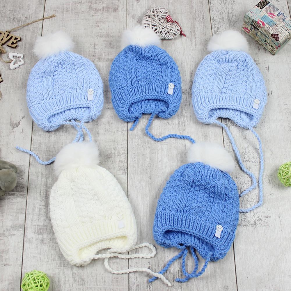 """Детские шапки для грудничков зимние мальчикам """"Мишка"""""""