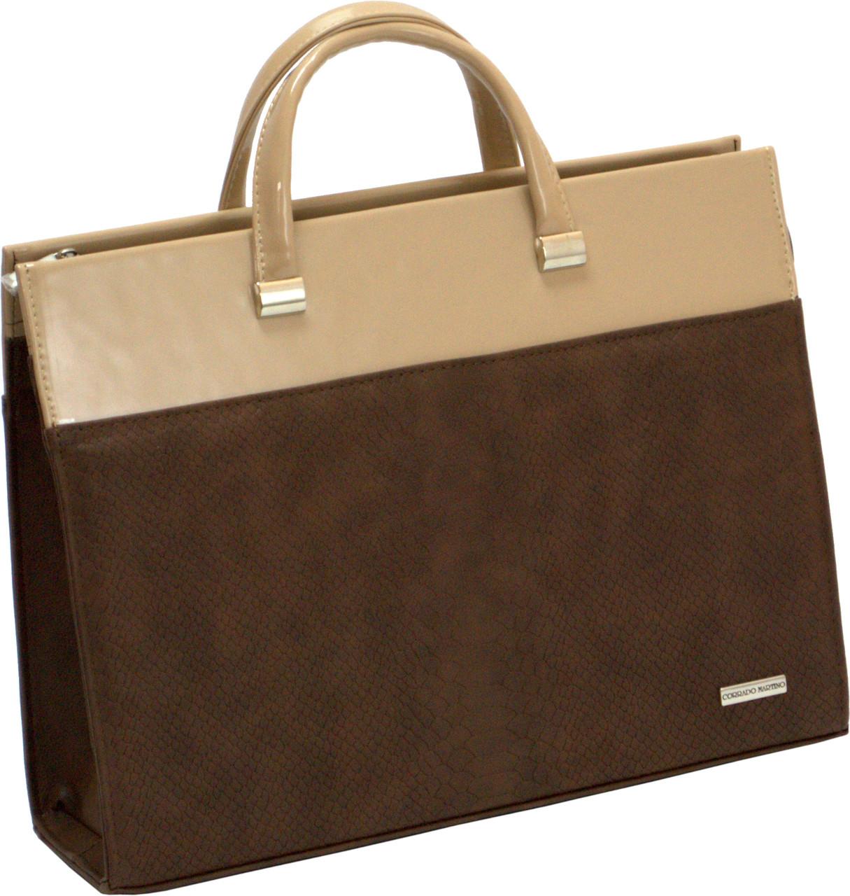 Женская сумка-портфель для документов, ноутбука, бэж, Corrado Martino. -  Чемоданчик 88a20fce959