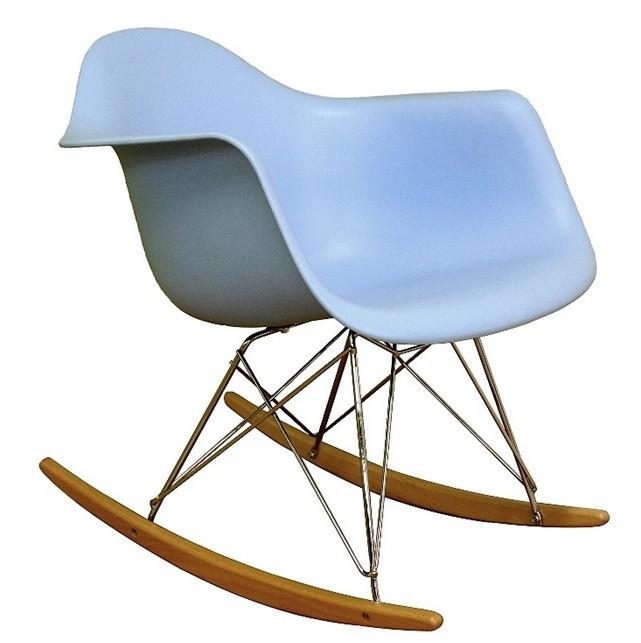 Кресло-качалка пластиковое Тауэр R, полозья, дерево, пластик, цвет голубой. Кресло для кафе, баров