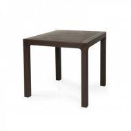 Стол Лагуна, пластиковый, ротанг коричневый, 80*80 см