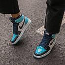 Женские кроссовки Air Jordan 1 Retro High Patent Blue, фото 3