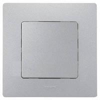 Выключатель / переключатель 1-клавишный с подсветкой Легранд – «Этика» цвет «алюминий металлик»