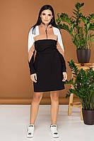 Платье женское трикотажное стильное миди Emmy беж/черный, голубой/черный 44, 46, 48, 50 бесплатная доставка