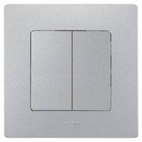 Выключатель / переключатель 2-клавишный с возможностью подсветки Легранд – «Этика» цвет «алюминий»