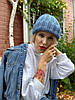 Шапка женская бини модная  вязаная  зимняя с подворотом голубая