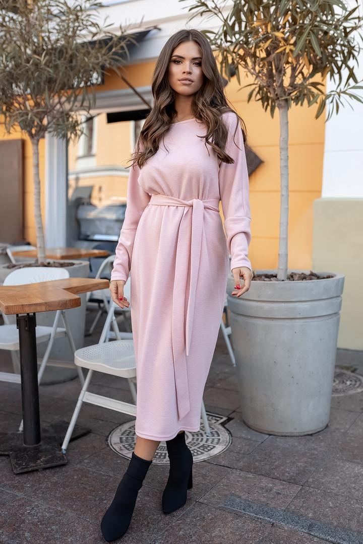 """Ангоровое свободное платье """"Альмира"""" с длинным рукавом и поясом (большие размеры)"""