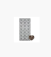 Форма поликарбонатная для конфет в виде сердечка (на 21 конфету) 13,5*27см