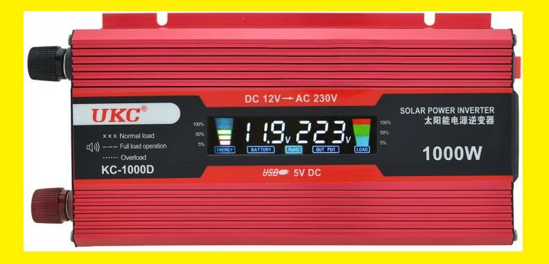 Преобразователь тока AC/DC UKC 1000W KC-1000D с LCD дисплеем
