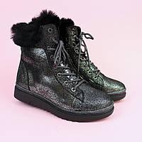 Зимові шкіряні черевики для дівчинки з сріблястим напиленням тм Bi&Ki розмір 34,37, фото 1