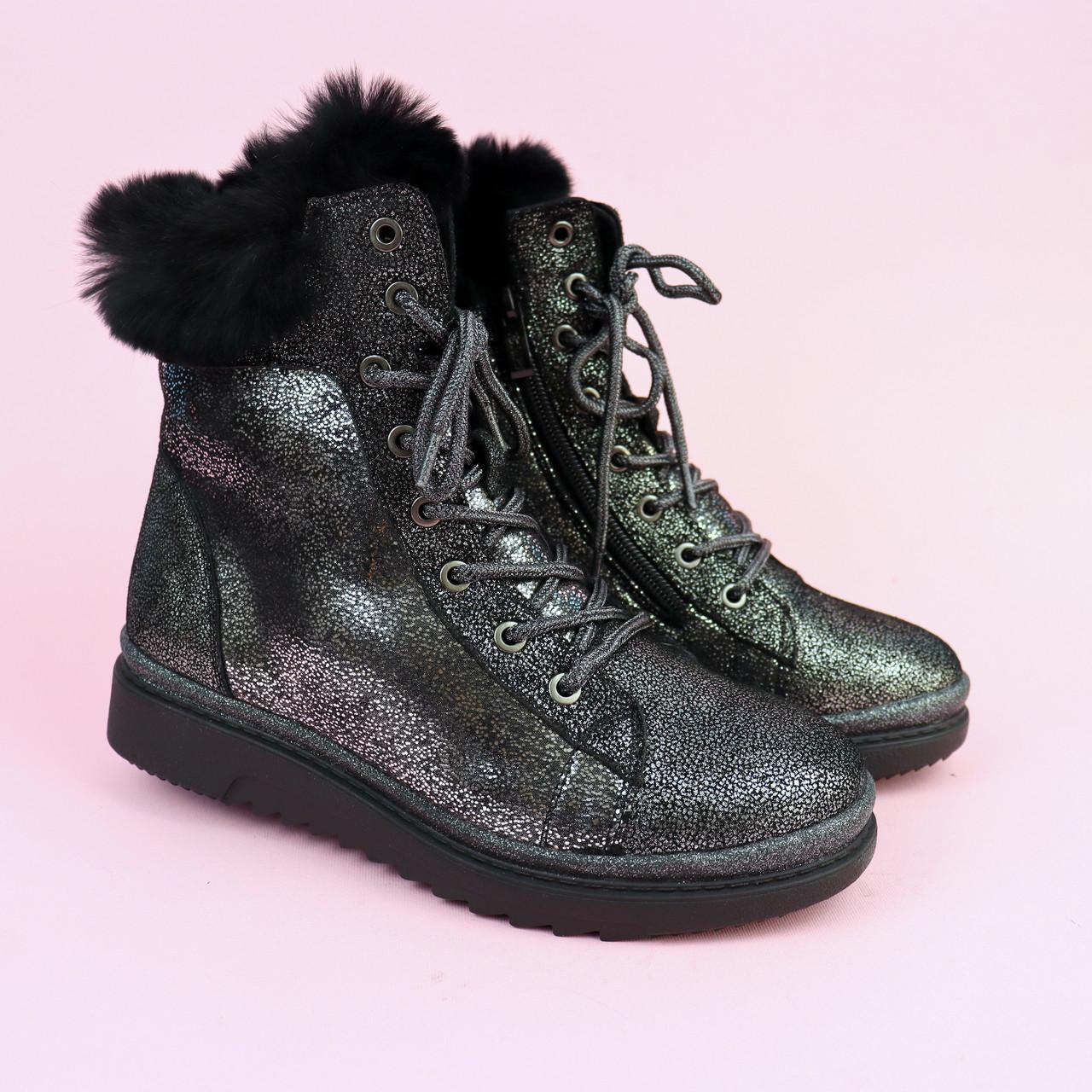 Зимові шкіряні черевики для дівчинки з сріблястим напиленням тм Bi&Ki розмір 34,37