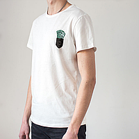 Мужская белая футболка, карман с деньгами, фото 1