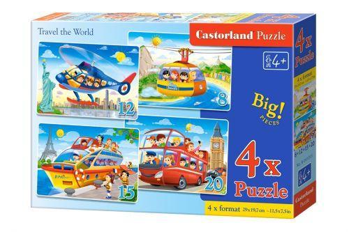 "Пазли ""Подорож по світу"" 4 в 1 (8,12,15,20) В-041015 Castorland  для дітей"