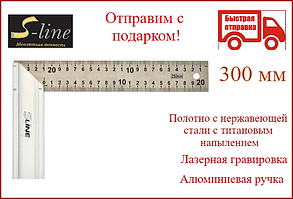 Угольник столярный нержавеющий 300 мм S-line 15-513