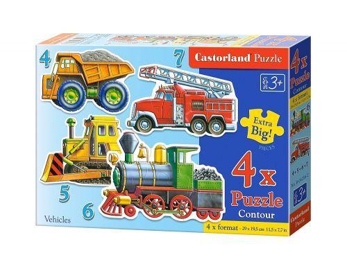 """Пазлы """"Транспорт"""" 4 в 1 (4,5,6,7) В-04133 Castorland  для детей"""