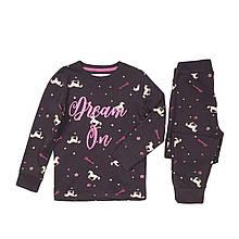 Детская пижама для девочки черная с единорогами 11-12 лет