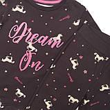 Детская пижама для девочки черная с единорогами 11-12 лет, фото 3