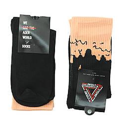 Чорні шкарпетки молодіжні довгі, високі чорні шкарпетки з рожевим верхи р. 37-41