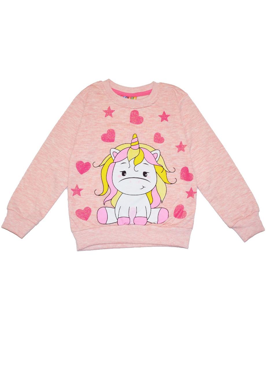 Реглан девочке на байке Единорожка розовый