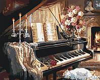 Картина по номерам без коробки Идейка Музыкальный вечер у камина худ Гибсон, Джуди (KHO2506) 40 х 50 см, фото 1