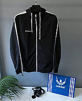 Ветровка мужская чёрная с белым принтом демисезонная Adidas на молнии с капюшоном Турция
