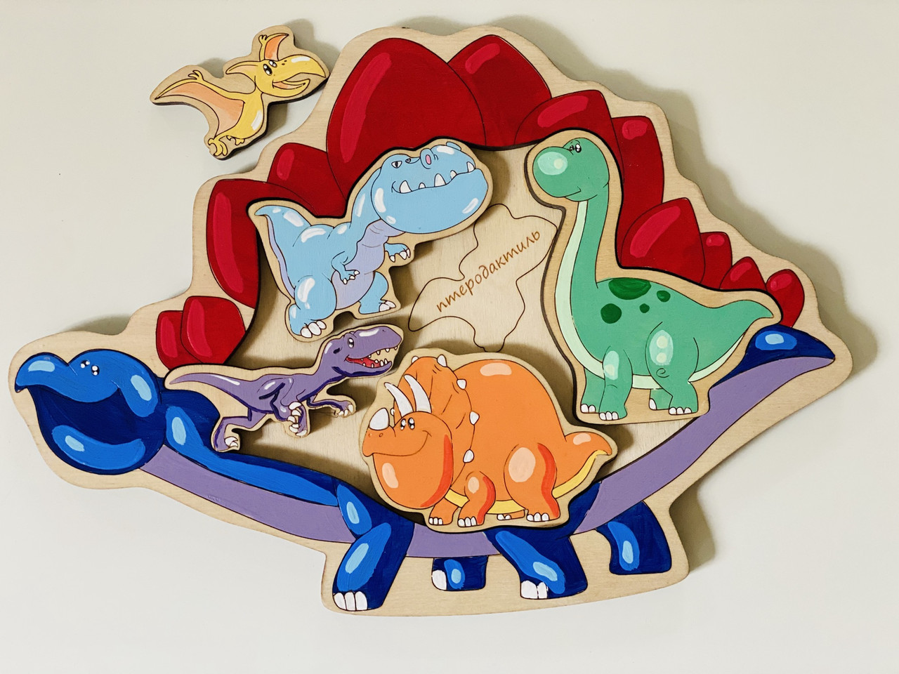 Сортер деревянный Intellect Wood динозавры 30*21 (s00018)