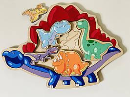 Дерев'яний сортер Динозаври Intellect Wood 30*22 розвиваюча іграшка (s00018)