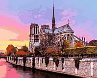 Картина по номерам Рассвет над собором Парижской Богоматери (VP939) 40 х 50 см DIY Babylon, фото 1