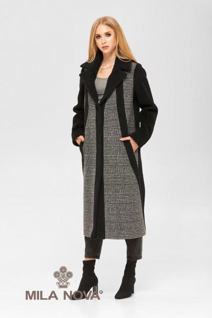 Женское демисезонное комбинированное пальто из альпаки и пальтовой ткани ПВ-186 Черный