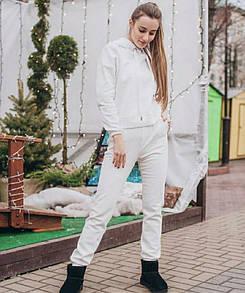Вики женский теплый костюм худи с капюшоном на флисе белый