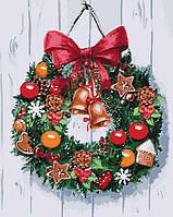 Холст для рисования Рождественский венок (KHO5534) 40 х 50 см Идейка [Без коробки], фото 1