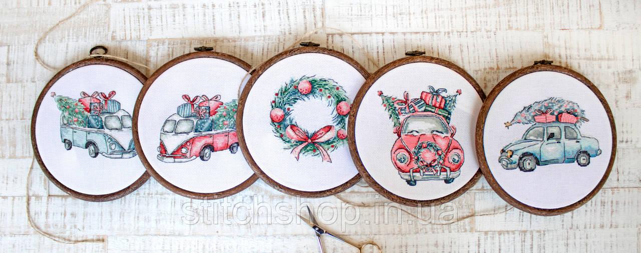 Набор для вышивания нитками LETISTITCH Christmas Retro Cars / Kit of 5 (LETI 965)