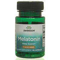 Мелатонин от бессонницы для улучшения сна, Melatonin, Swanson Premium, 3 мг, 60 капсул, фото 1