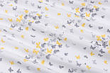 """Фланель детская """"Маленькие бабочки"""" серо-жёлтого цвета, ширина 240 см, фото 3"""