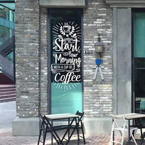 Виниловая интерьерная наклейка на стену Start your morning (наклейка в кофейню, декор витрины)