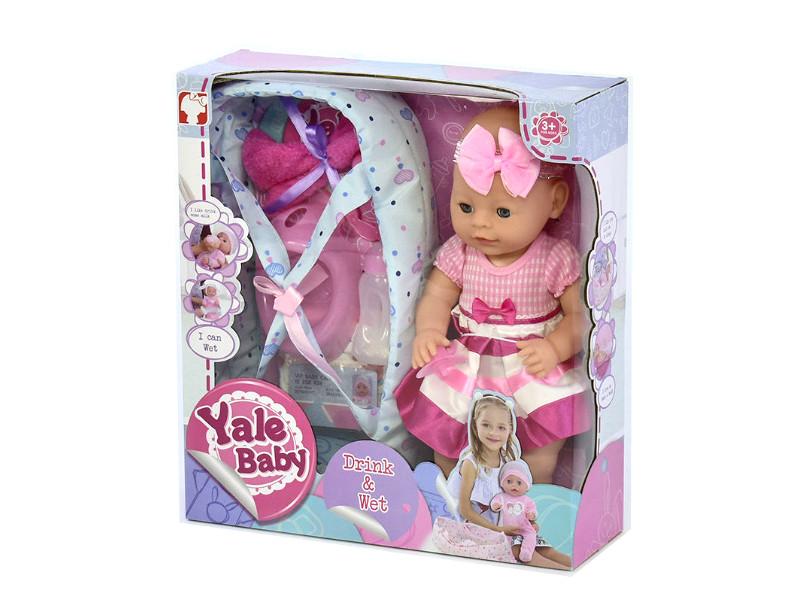 """Пупс девочка в платье с повяской на голове, в переноске  """"Yale baby"""", высота 39см"""