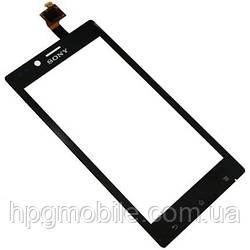 Сенсорный экран (touchscreen) для Sony Xperia J ST26i, черный, оригинал