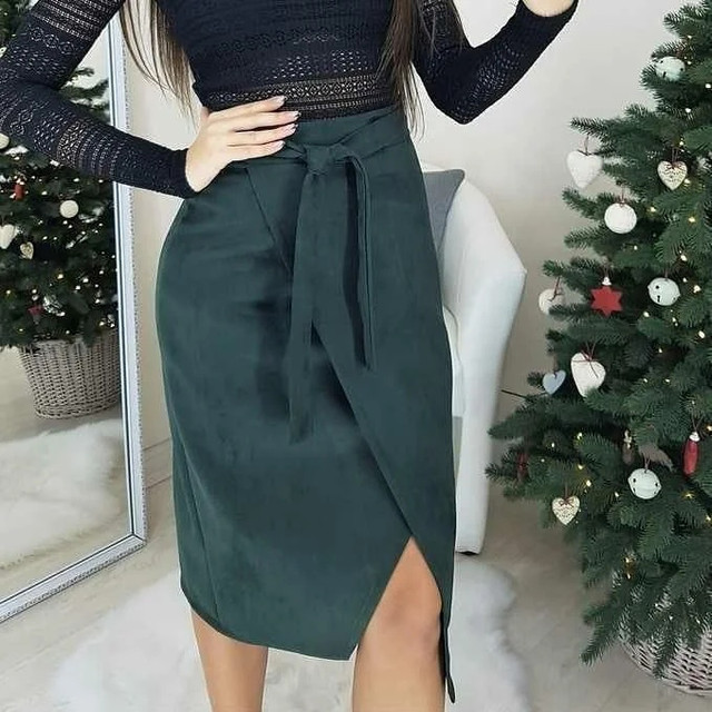 замшевая юбка на запах