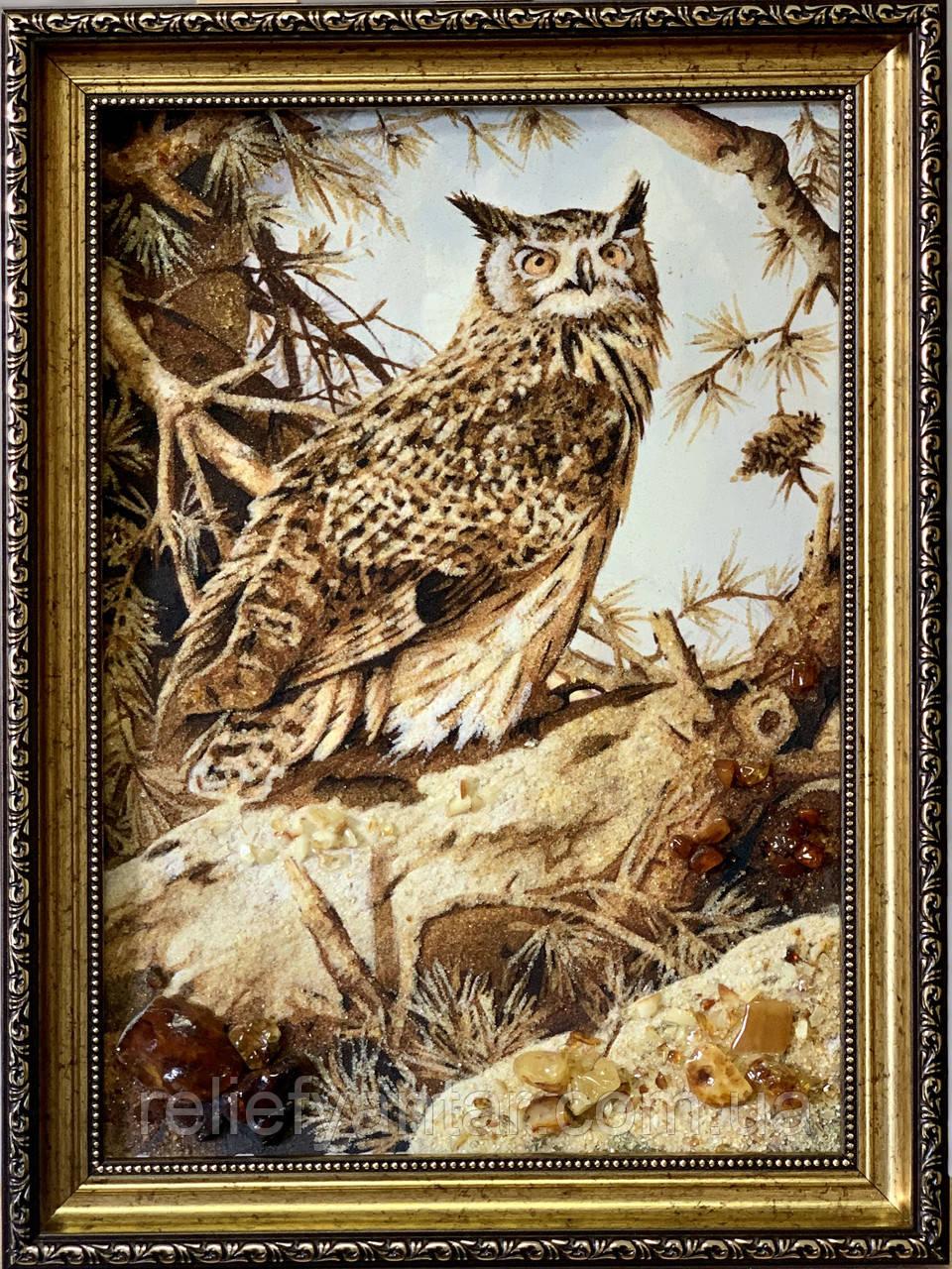 """Картина из янтаря """" Сова"""" 30x40 см"""