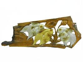Панно тиковое: 2 золотых и серебряный карась (пт-125)