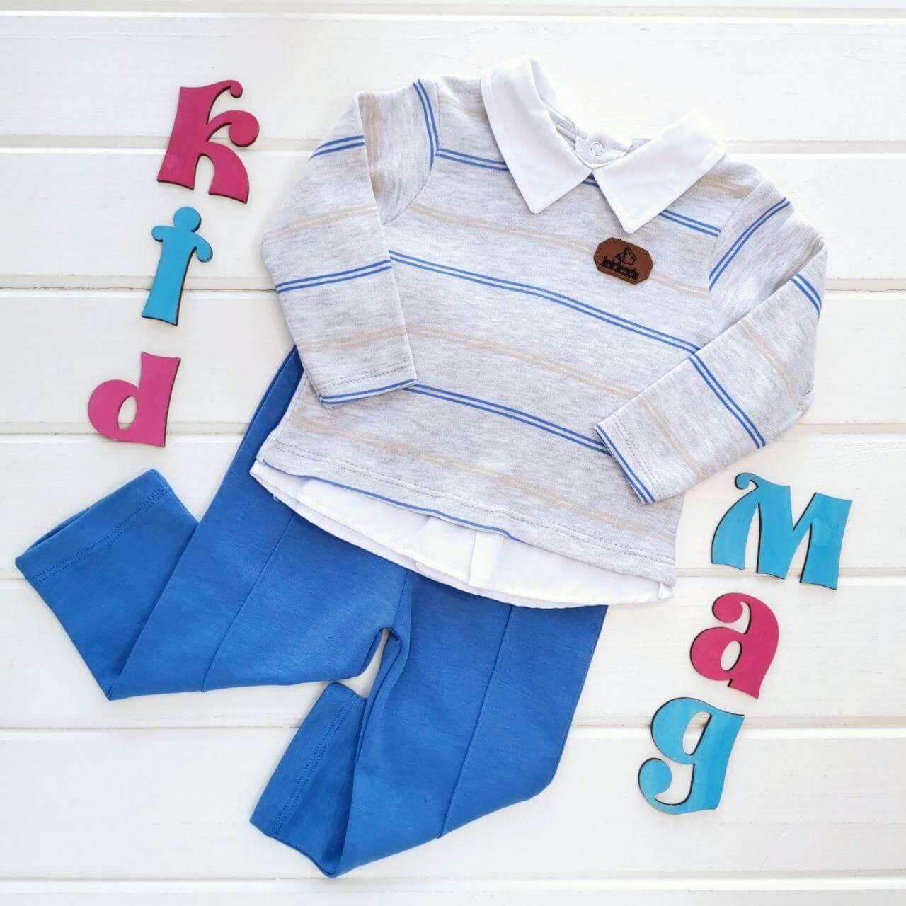 """Нарядный детский костюм для мальчика """"Синяя полосочка"""" на 6, 9 и 18 мес."""