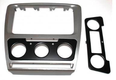 Рамка переходная Original Skoda Octavia A5 2004-2013 Silver Climat+Conditioner (Р23518)