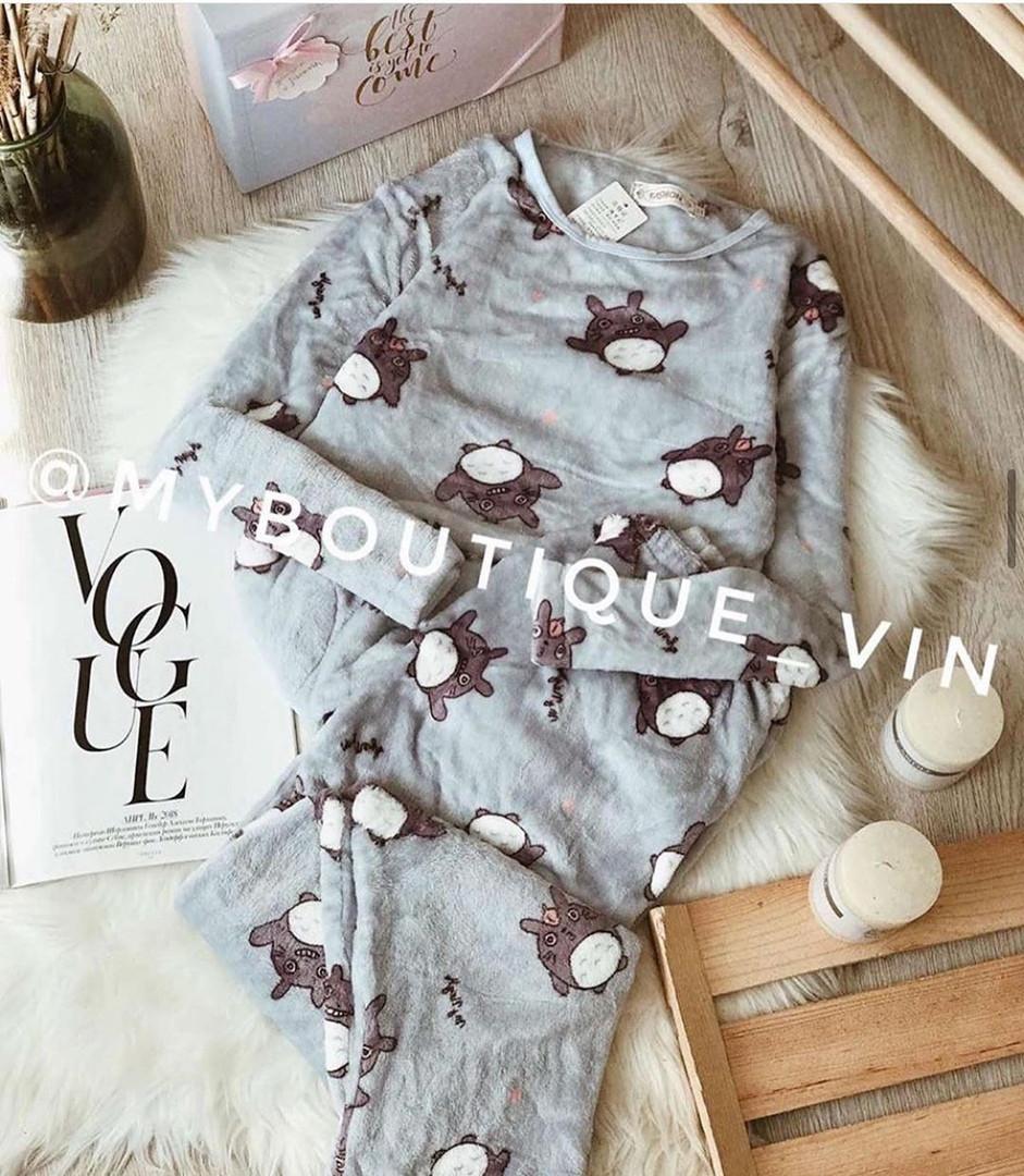 Женская пижама, плюш, велсофт, р-р S(42); M(44-46) (серый)