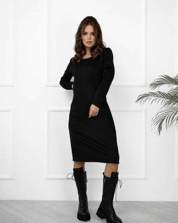 Черное замшевое свободное платье (S - 3XL)
