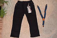 Утепленные котоновые брюки на флисовой подкладке для мальчиков 98-128 см