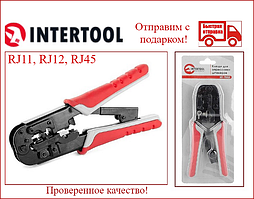 Кліщі для обпресування штекерів RJ11, RJ12, RJ45 типу Western INTERTOOL HT-7052