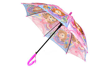 Детский яркий зонт трость полуавтомат на 8 спиц со свистком с рисунком принцесса София